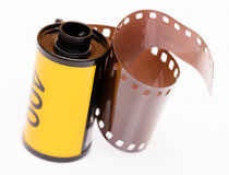 Vintage 35mm film roll. On white background Stock Photography