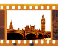 Vintage 35mm frame photo film with Famous and beautiful view. Vintage old 35mm frame photo film with Famous and beautiful view to Big Ben and Westminster bridge Royalty Free Stock Image