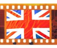 Vintage 35mm frame photo film with UK, British flag, Union J. Vintage old 35mm frame photo film with UK, British flag, Union Jack Royalty Free Stock Photo