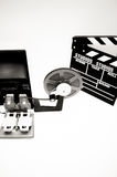 Vintage 8mm movie editing desktop in black and white Royalty Free Stock Photography
