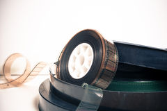Vintage 35 mm movie reel and boxes Stock Image