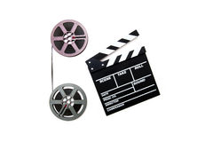 Vintage 8mm purple and grey movie reels and clapper Stock Image