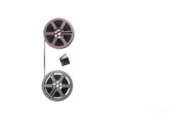 Vintage 8mm purple and grey movie reels and little clapper board Stock Images