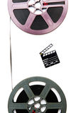 Vintage 8mm purple and grey movie reels and little clapper board Stock Image