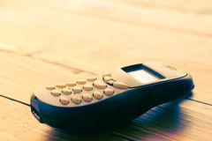Vintage mobile phone on table background Stock Photos