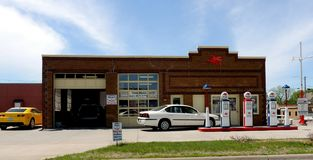 Vintage Mobile station. Vintage Mobil station once know as Pioneer Oil and owned by former Major League Baseball pitcher Jackie Collum now converted to body and stock image