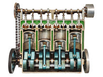 Vintage model of a classic car engine. With focus on pistons used for education purposes Royalty Free Stock Image