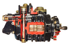 Vintage model of a classic car engine with focus on pistons Stock Photography
