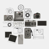 Vintage and Modern Camera Set stock illustration