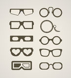 Vintage and modern glasses Royalty Free Stock Photography