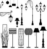 Vintage and modern lamp  set Royalty Free Stock Images