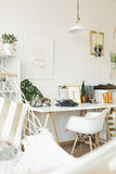 Vintage and modern styles mixed. In home office stock photography