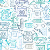 Vintage and modern telephones seamless pattern Stock Photos