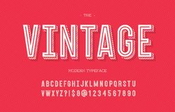 Vintage modern typeface. Alphabet trendy typography sans serif style for party poster, printing on fabric, t shirt, promotion, decoration, stamp, label Royalty Free Stock Photos