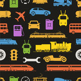 Vintage and modern vehicle color silhouettes stock illustration