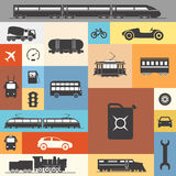Vintage and modern vehicle silhouettes Royalty Free Stock Photo
