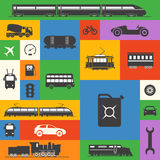 Vintage and modern vehicle silhouettes collection Stock Images