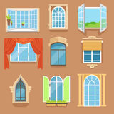 Vintage and modern windows set in different styles and forms. Window frames exterior view. Vector Illustrations stock illustration