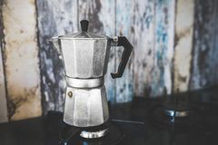 Vintage Moka Espresso Coffee Pot / Maker Royalty Free Stock Photo
