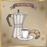 Vintage moka espresso maker and coffee cup color sketch. Stock Image