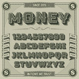 Vintage Money Font with shadow. Retro 3D Alphabet with decorative elements Royalty Free Stock Photos