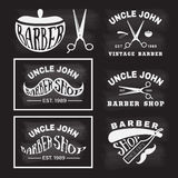 Vintage monochrome barber shop logo vector illustration