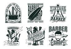 Vintage monochrome Barber Shop Logos Set Images stock
