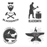 Vintage monochrome blacksmith badges and design Royalty Free Stock Photography
