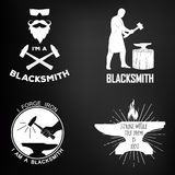 Vintage monochrome blacksmith badges and design Royalty Free Stock Image
