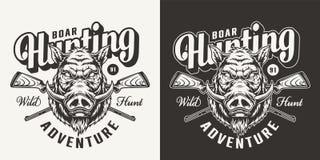 Vintage monochrome boar hunting emblem stock illustration
