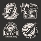 Vintage monochrome brewery labels. With beer glass pretzel barley ears wooden cask male hand holding bottle isolated vector illustration royalty free illustration