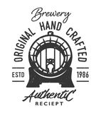Vintage monochrome brewery logo. With beer wooden barrel and inscriptions isolated vector illustration stock illustration