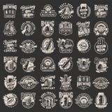 Vintage monochrome brewery prints set stock illustration