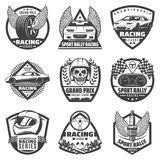 Vintage Monochrome Car Racing Labels Set. With fast vehicles automobile parts skull helmet finish flags isolated vector illustration Royalty Free Stock Image