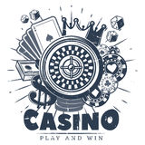 Vintage Monochrome Casino Logo Template. With roulette cards chips money crown and dices isolated vector illustration Stock Photography