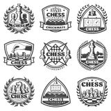 Vintage Monochrome Chess Game Labels Set. With inscriptions figures chessboards clocks laurel wreath isolated vector illustration Royalty Free Stock Image