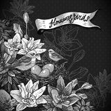 Vintage monochrome floral background with birds Royalty Free Stock Image