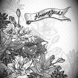 Vintage monochrome floral background with birds Stock Photo