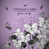 Vintage Monochrome Floral Card with Violets Royalty Free Stock Image