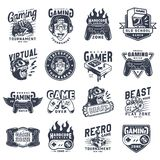Vintage monochrome gaming emblems set. With inscriptions videogame equipment devices and gadgets isolated vector illustration stock illustration