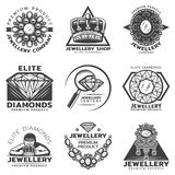 Vintage Monochrome Jewelry Shop Labels Set. With inscriptions jeweler crown diamond necklace brooches isolated vector illustration Royalty Free Stock Image