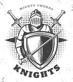 Vintage Monochrome Knights Template Stock Photo