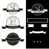 Vintage monochrome labels with animals vector set Stock Photo