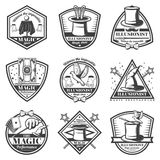 Vintage Monochrome Magic Show Labels Set. With inscriptions animals equipment tools for tricks and illusions isolated vector illustration Royalty Free Stock Image