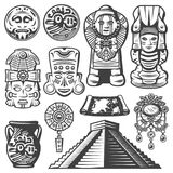 Vintage Monochrome Maya Elements Set. With ceremonial masks totems coins mayan calendar jewelry vase map pyramid isolated vector illustration royalty free illustration