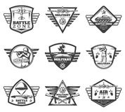 Vintage Monochrome Military Labels Set Royalty Free Stock Photography