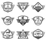 Vintage Monochrome Military Labels Set vector illustration