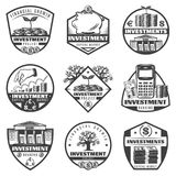 Vintage Monochrome Money Investment Labels Set. With dollar banknotes financial tree calculator piggy bank building coins isolated vector illustration Royalty Free Stock Image