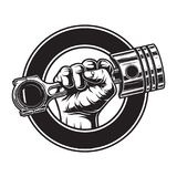 Vintage monochrome motorcycle label. With hand holding engine piston in circle isolated vector illustration stock illustration