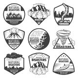 Vintage Monochrome Natural Disaster Labels Set. With wildfire landslide avalanche tornado volcano eruption thunderstorm rainfall flood isolated vector Stock Photo
